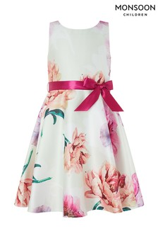 Monsoon Natural Peony Floral Print Dress