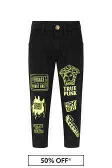 Versace Baby Boys Black/Yellow Cotton Logo Trousers