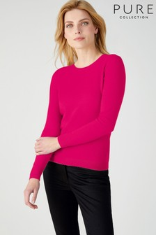 Pure Collection Pink Cashmere Slim Fit Crew Neck Sweater