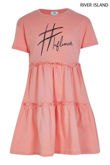 River Island Pink Light Tiered T-Shirt Smock