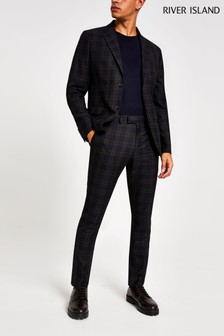 River Island Navy New Orleans Check Skinny Trousers