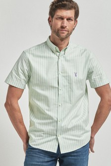 Stripe Short Sleeve Stretch Oxford Shirt