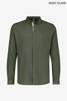 River Island Dark Khaki Muscle Fit Oxford Shirt