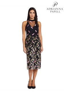 Adrianna Papell Black Fluttering Leaves Sheath Dress