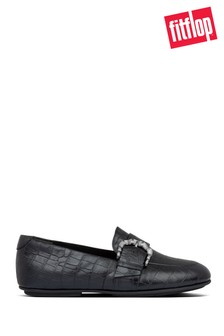 FitFlop™ Black Lisbet Croco Loafers
