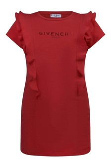 Girls Red Cotton Jersey Dress