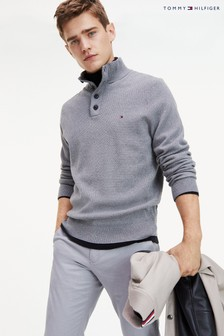 Tommy Hilfiger Structured Button Mock Sweater