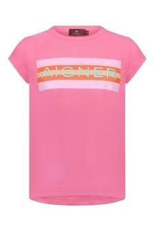 Girls Fuchsia Cotton Logo T-Shirt