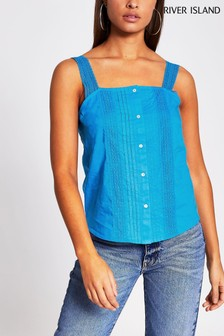 River Island Blue Sleeveless Lace Camisole