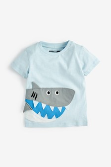 Short Sleeve Appliqué Shark T-Shirt (3mths-7yrs)