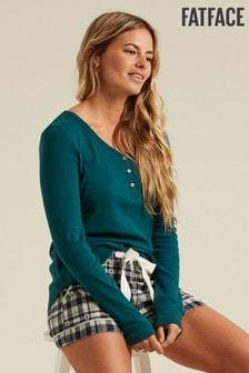 FatFace Green Maple Henley Pyjama Top