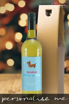 Personalised Dachshund Through The Snow White Wine by Signature PG