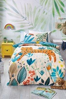 Bright Tiger Reversible Duvet Cover and Pillowcase Set