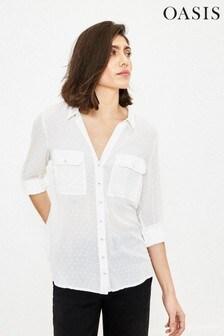 Oasis White Dobby Detail Shirt