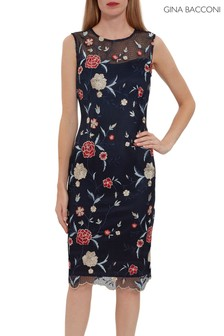 Gina Bacconi Blue Ravinia Embroidery Floral Net Dress