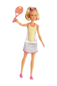 Barbie Blonde Tennis Player Doll with Tennis Outfit, Racket & Ball