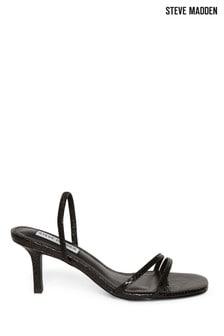 Steve Madden Black Snake Effect Kitten Heel Sandals
