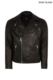 River Island Black Real Leather Biker Jacket