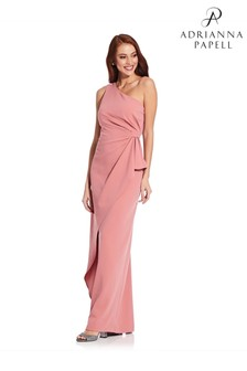 Adrianna Papell Pink Crepe Draped Dress