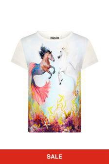 Molo Girls White Cotton T-Shirt