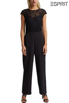Esprit Womens Black Lace Jumpsuit