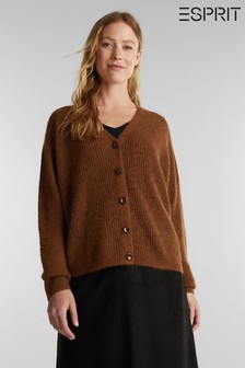 Esprit Womens Brown Long Sleeved Alpaca Cardigan