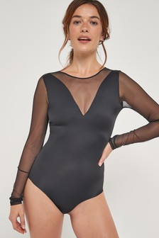 Smoothing Mesh And Microfibre Long Sleeved Body