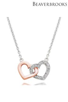 Beaverbrooks Silver And Rose Gold Plated Cubic Zirconia Double Heart Necklace