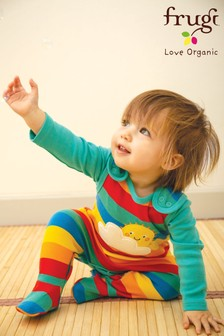 Frugi GOTS Organic Two Piece Rainbow Dungaree And Bodysuit Set