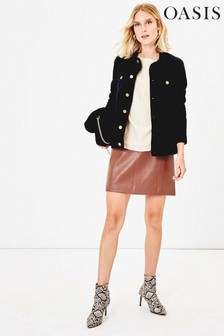 Oasis Tan Faux Leather Hattie Skirt