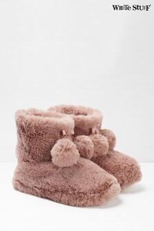 White Stuff Pink Faux Fur Slipper Booties