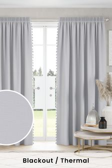 Grey Textured Tassel Pencil Pleat Blackout/Thermal Curtains