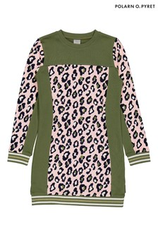 Polarn O. Pyret Green Organic Cotton Leopard Print Dress