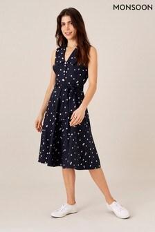 Monsoon Blue Marley Spot Print Poplin Dress