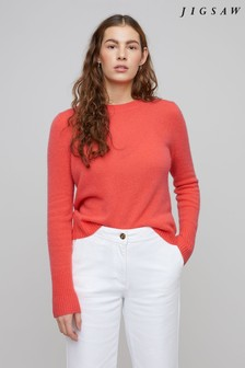 Jigsaw Pink Cloud 7 Cashmere Crew Jumper