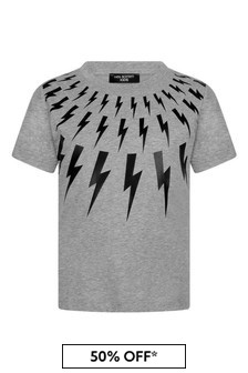 Boys Grey Cotton Logo Print T-Shirt