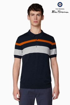 Ben Sherman Navy Chest Stripe Knitted Polo