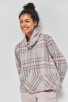 Check Funnel Neck Lounge Top