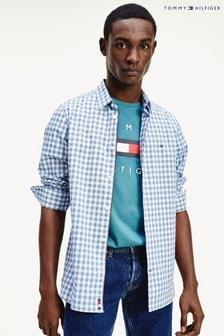Tommy Hilfiger Blue Slim Flex Houndstooth Gingham Shirt