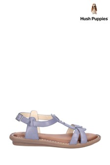 Hush Puppies Blue Olive T-Strap Buckle Strap Sandals