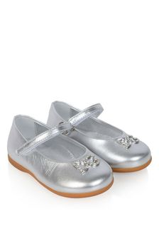 Girls Silver Leather Ballerina Shoes