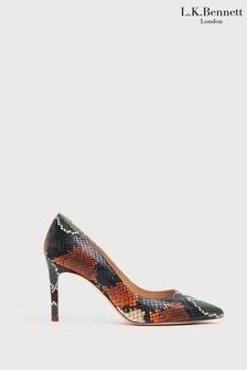 L.K.Bennett Orange Floret Pointed Toe Court Shoes