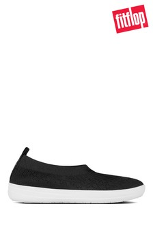 FitFlop™ Black Uberknit™ Slip-On Ballerinas