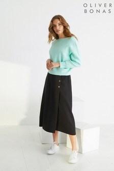 Oliver Bonas Black Luxe Button Black Midi Skirt