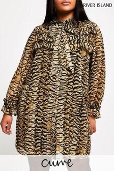 River Island Plus Beige Frill Neck Mini Dress