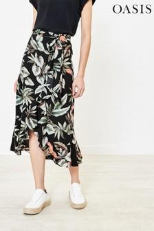 Oasis Black Mushroom Pleat Midi Skirt