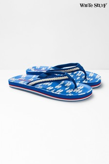 White Stuff Blue Koi Fish EVA Flip Flops