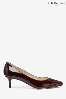 L.K.Bennett Red Audrey Kitten Heel Court Shoes