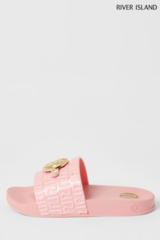 River Island Coral Monram Jelly Sliders