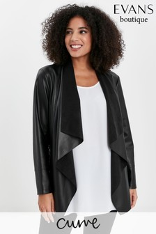 Evans Curve Black Faux Leather Waterfall Jacket
